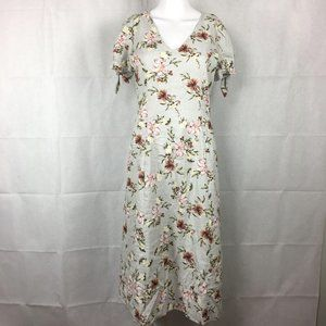 Tash + Sophie Gray Floral Linen Dress S